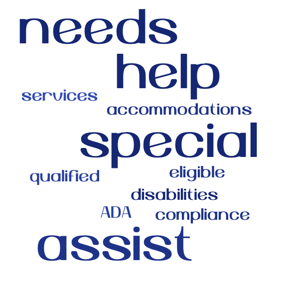 Word cloud with needs, help, special and assist being largest and services accommodations, eligible, qualified, ADA, disabilities and compliance being smaller