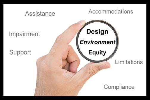 A hand holds a lens which magnifies the words design, environment and equity with the words assistance, impairment, support, accommodations, limitations and compliance in the background