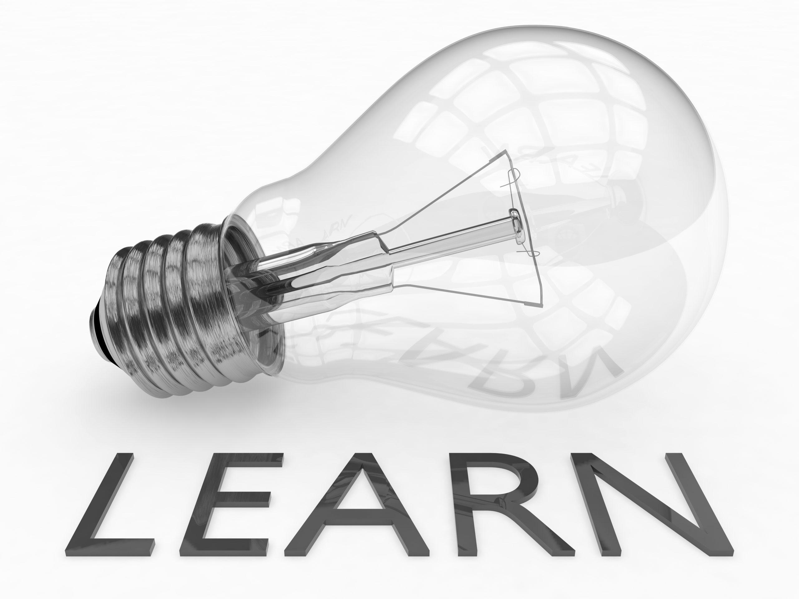 Light bulb with the word learn underneath